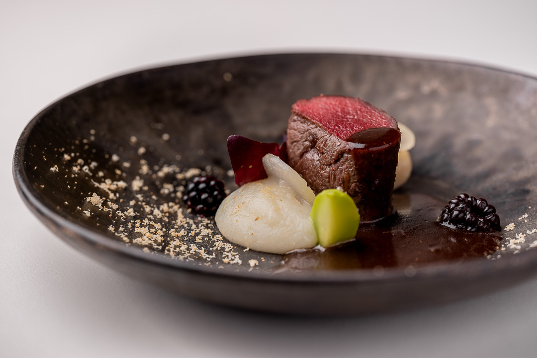 The White Room by Hungry for More. Detail of roe deer with kohlrabi, gnocchi and hazelnut.
