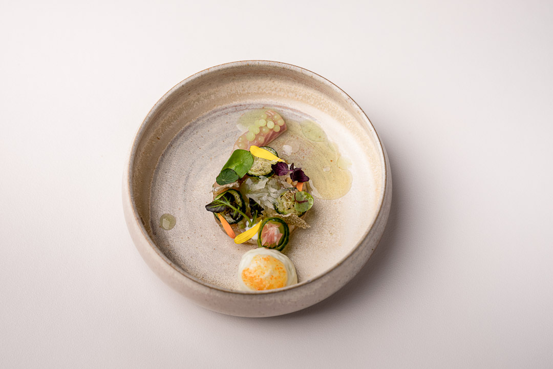 The White Room by Hungry for More. Overall picture of trout, cucumber, lime and ginger.