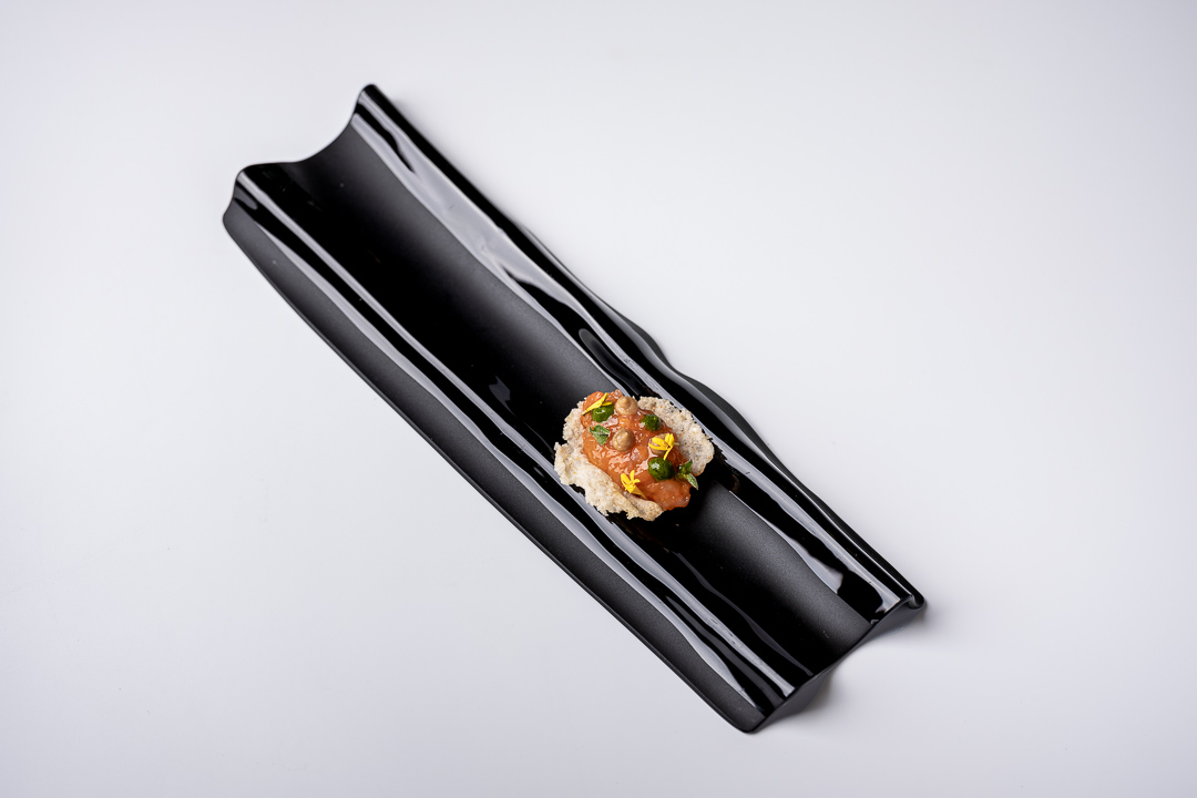 Paco Roncero by Hungry for More. Overall picture of the canapé by chef Paco Roncero.