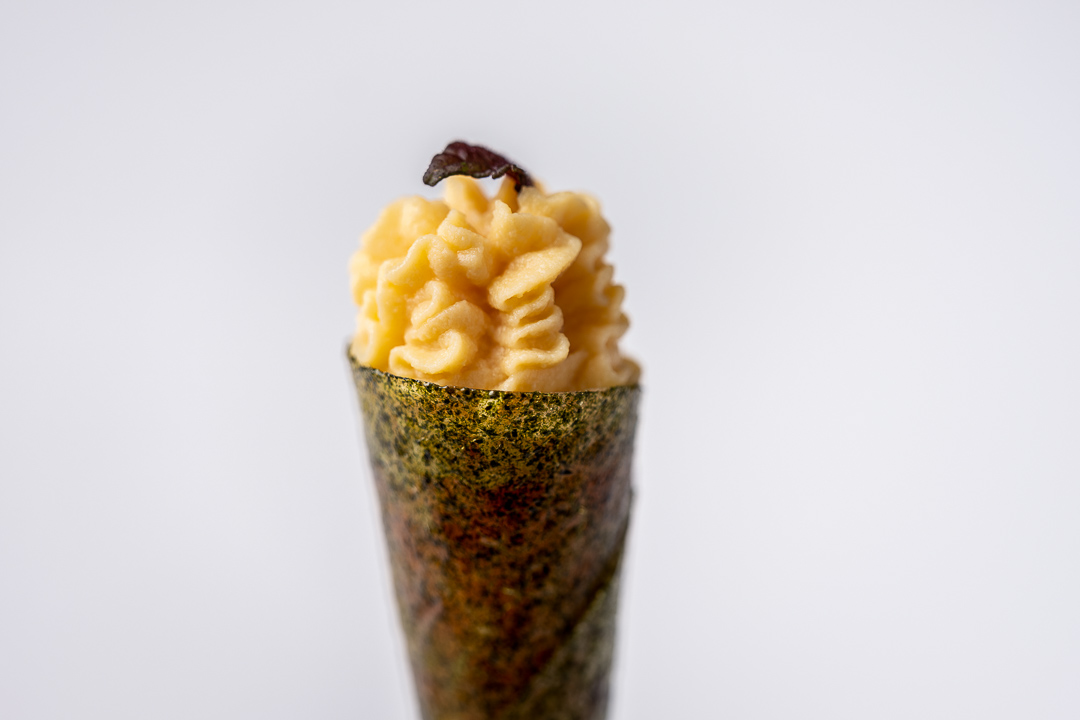 Paco Roncero by Hungry for More. Details of the salmon and miso cone by chef Paco Roncero.