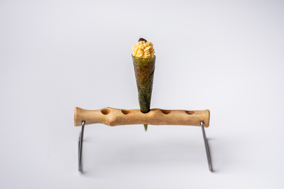 Paco Roncero by Hungry for More. Overall picture of the salmon and miso cone by chef Paco Roncero.