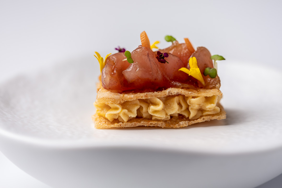 Paco Roncero by Hungry for More. A mackerel millefeuille by chef Paco Roncero of Paco Roncero Restaurante.
