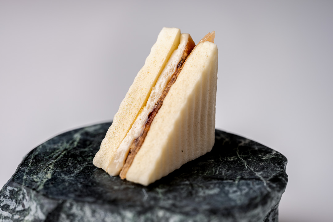 Paco Roncero by Hungry for More. An ajoblanco sandwich by chef Paco Roncero.