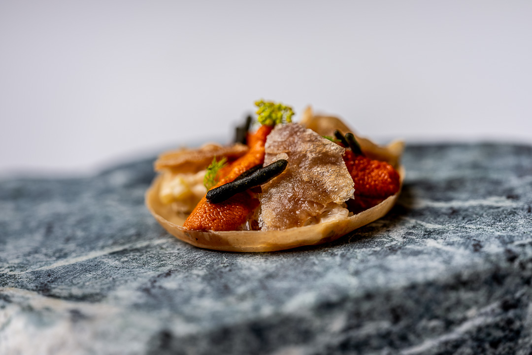 Paco Roncero by Hungry for More. Details of a tartelette of crispy pork by chef Paco Roncero.