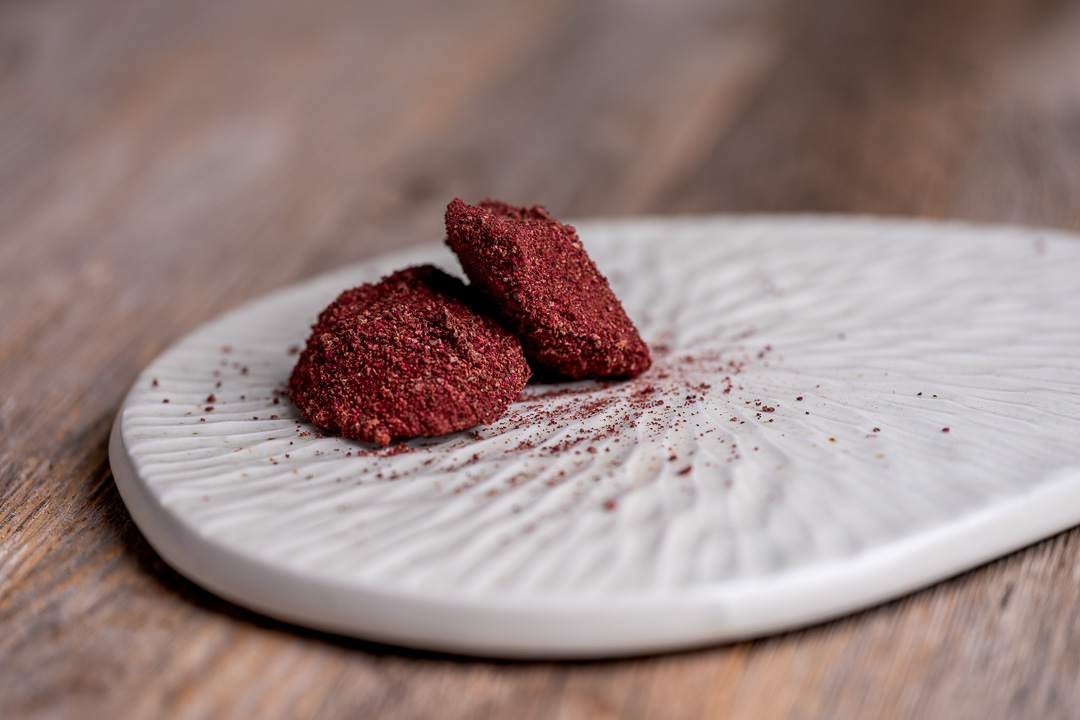 Heritage by Hungry for More. Chocolate truffle with beetroot and raspberry.