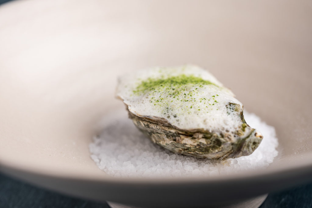 Gillardeau oyster with tartare of roasted watercress, Granny Smith and cucumber